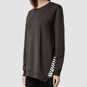 ALL SAINTS Kim Sweats Shoelace Asymmetric Sweater